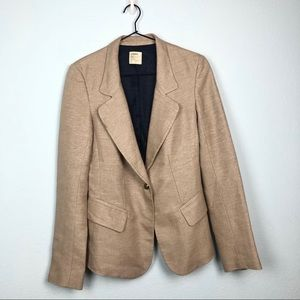 L'Agence Tan Woven Boyfriend Blazer Single Button